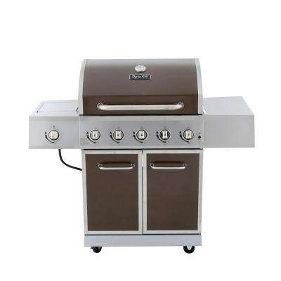 5-Burner Propane Gas Grill in Bronze with Stainless Steel Control Panel and Side Burner