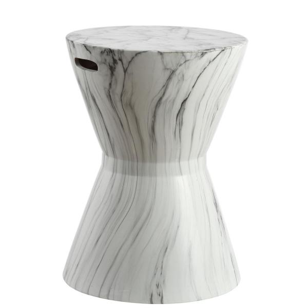 African Drum 17.3 in. White Marble Finish Ceramic Garden Stool