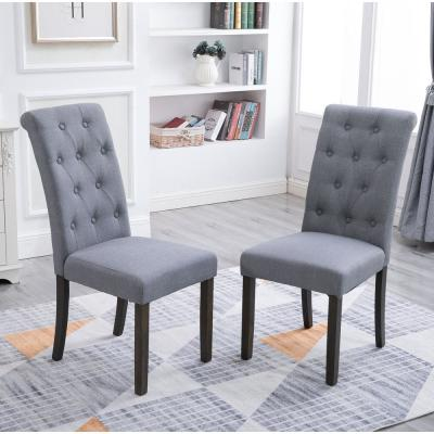 Grey Noble and Elegant Solid Wood Tufted Dining Chair (Set of 2)