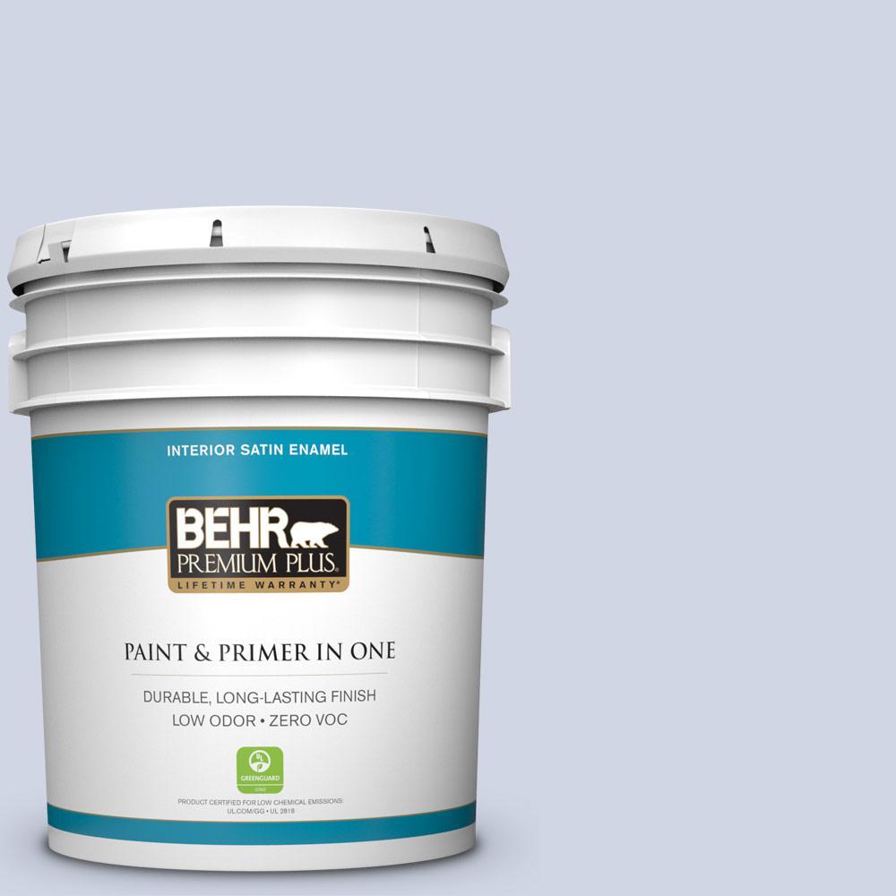 BEHR Premium Plus 5-gal. #600E-2 Harbor Mist Zero VOC Satin Enamel Interior Paint