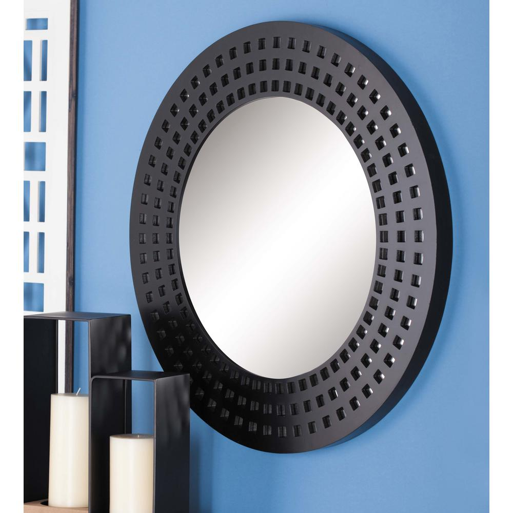 31 in. Modern Gray Round Cut-Out Framed Wall Mirror