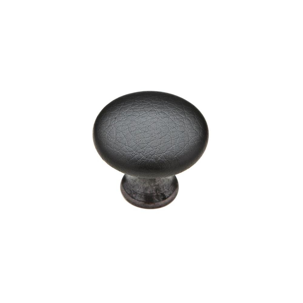 Knobware Black Sta Kleen Faux Leather Covered 1-1/8 in. Oil Rubbed Bronze/Black Cabinet Knob