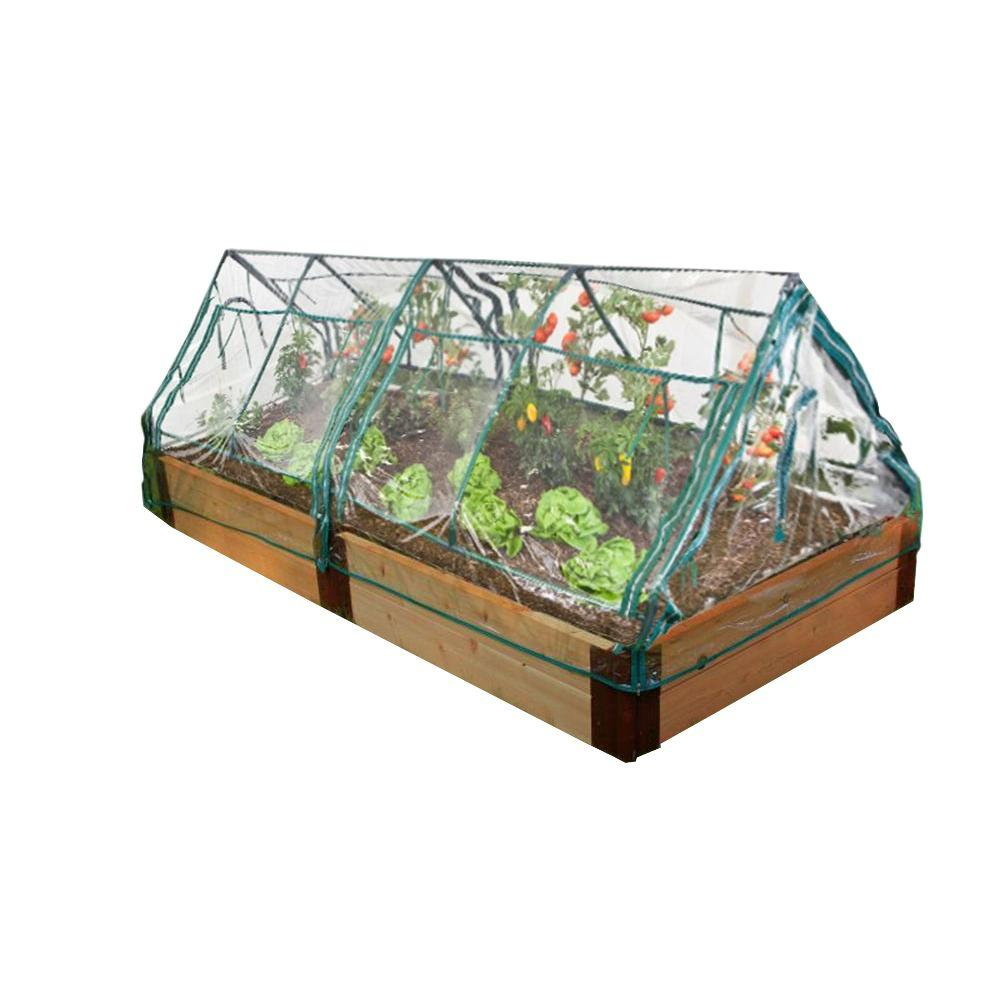 Frame It All One Inch Series 4 ft. x 8 ft. x 12 in. Cedar Raised Garden Bed Kit with 2 Greenhouses