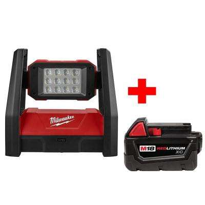 M18 18-Volt Lithium-Ion Cordless Rover AC/DC LED Flood Light with Free Battery