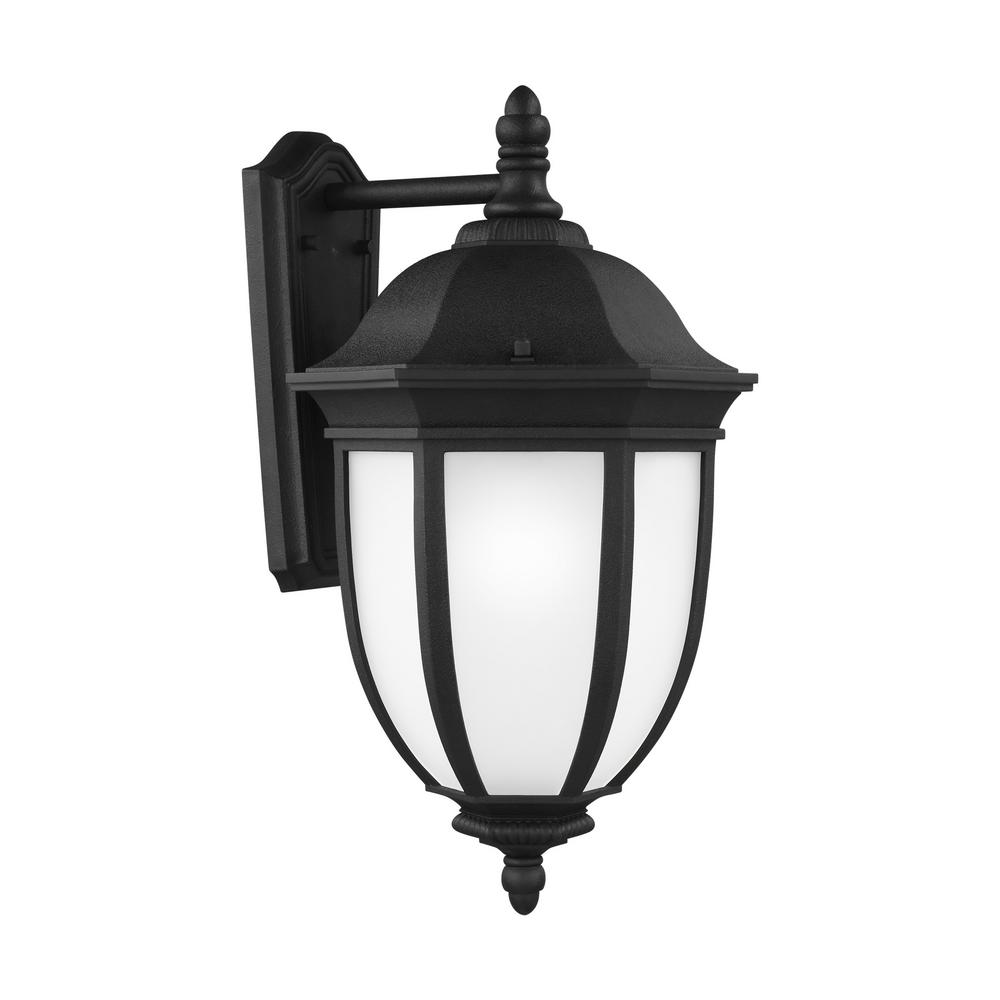 Sea Gull Lighting Galvyn 1-Light Black Outdoor 22.625 in. Wall Lantern Sconce with LED Bulb