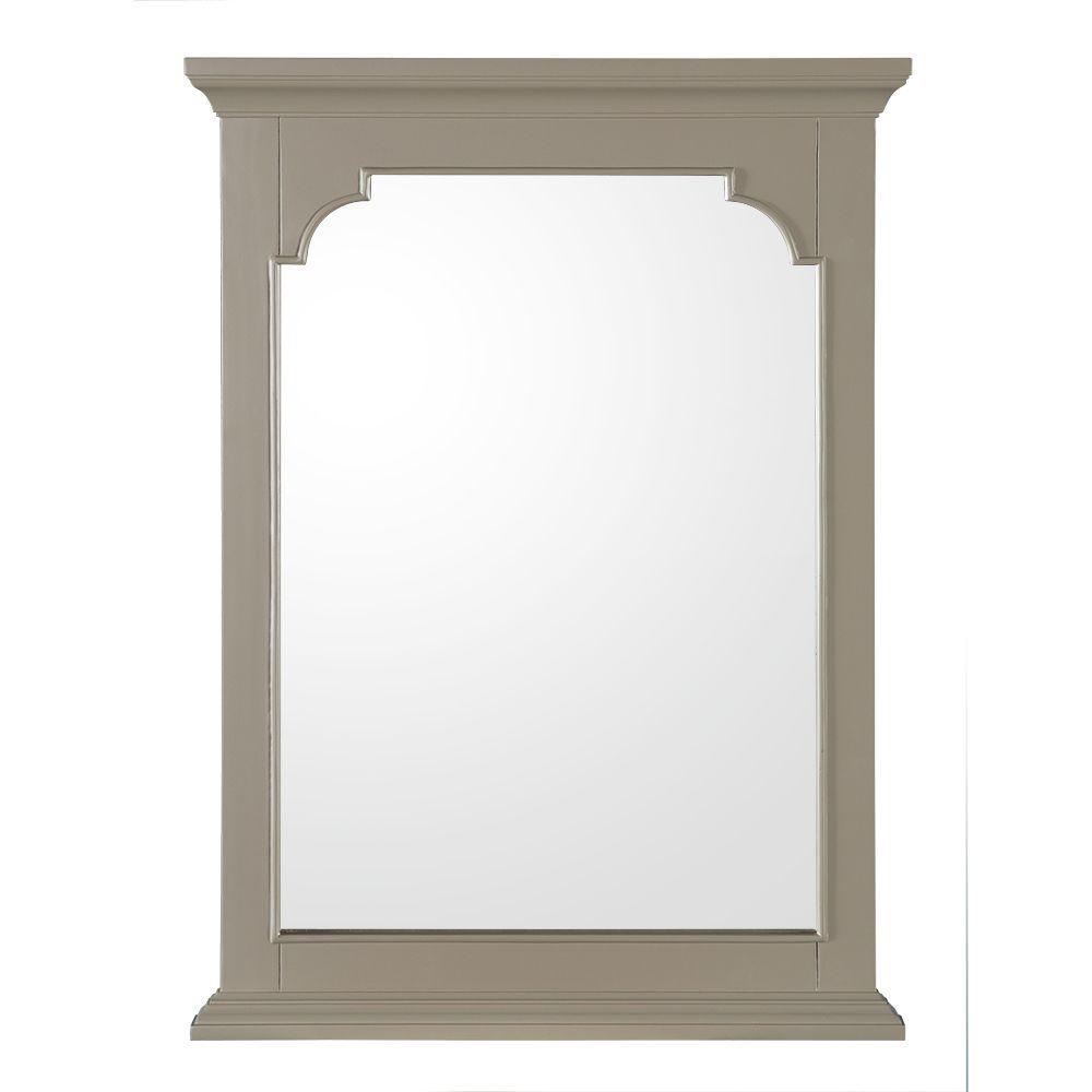 Hayward 22 in. W x 30 in. H Single Framed Wall Hung Mirror in Grey
