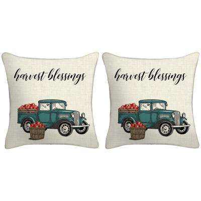 16 in. x 16 in. x 5 in. Harvest Truck Toss Pillows (Set of 2)