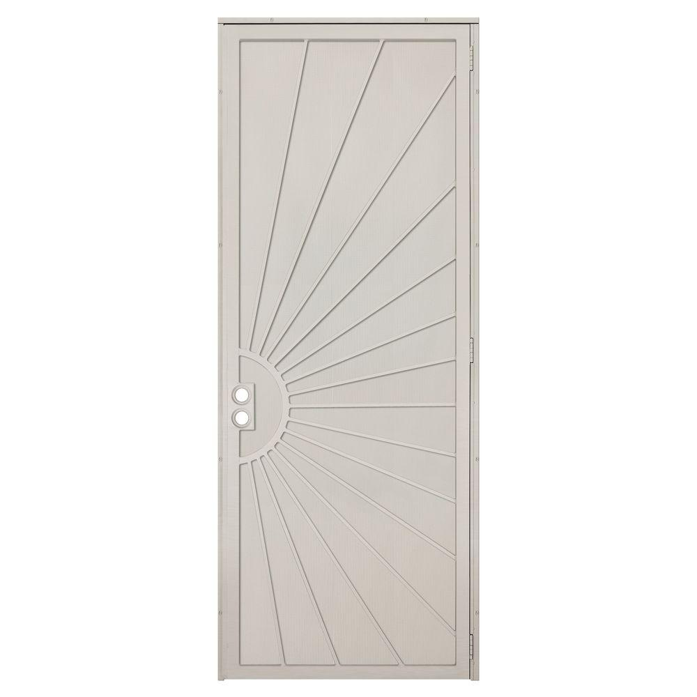 Unique Home Designs 36 in. x 96 in. Solana Tan Surface Mount Right-Hand Steel Security Door with Perforated Metal Screen