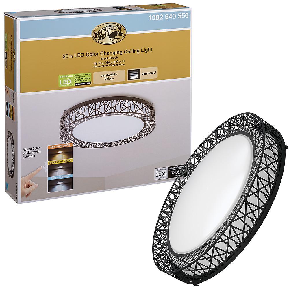 Birds Nest Design 20 in. Round Black Selectable LED Flush Mount Ceiling Light 2000 Lumens Dimmable 3000K 4000K 5000K