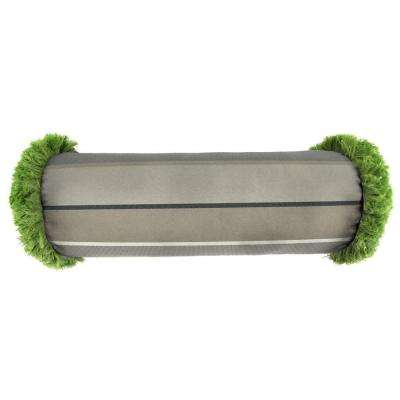 Sunbrella 7 in. x 20 in. Milano Charcoal Bolster Outdoor Pillow with Gingko Fringe