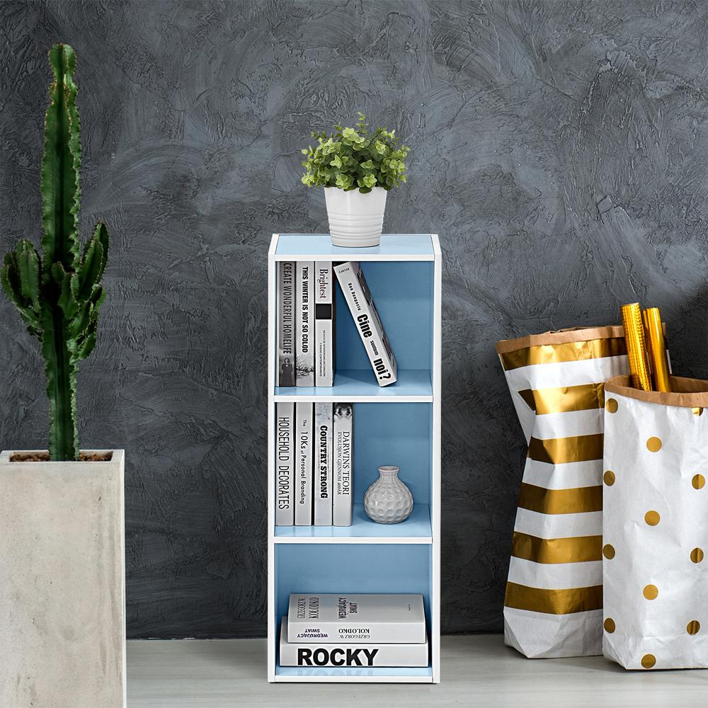 White and Light Blue 3-Tier Open Shelf Bookcase