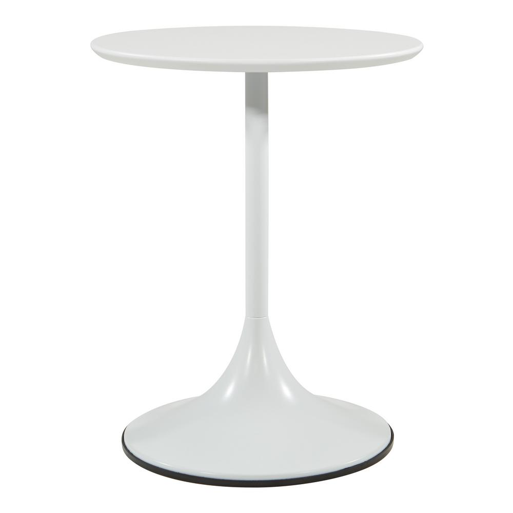 OSP Home Furnishings Flower Side Table with White Top and White Base, White/White OSP Home Furnishings Flower Side Table with White Top and White Base, White/White.