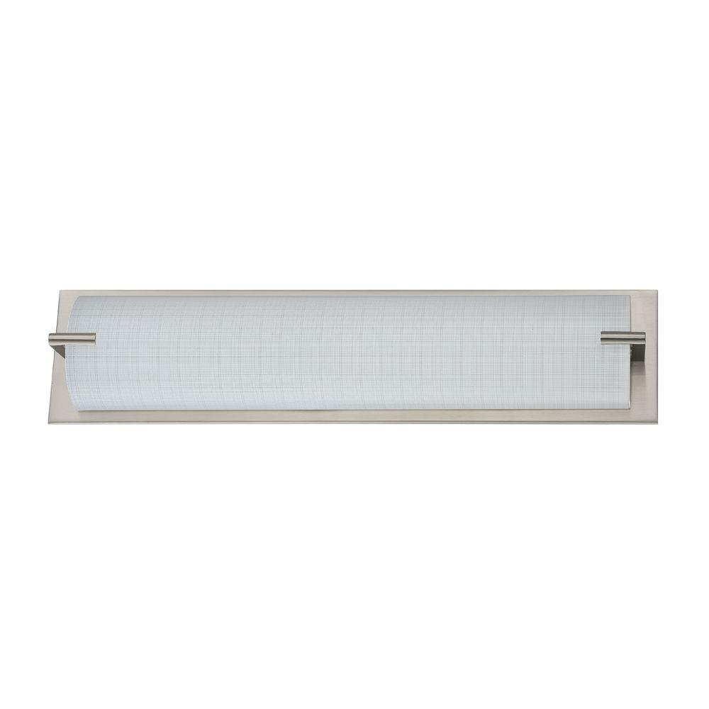 Designers Choice Collection Paramount Series 4-Light Satin Nickel Vanity Light with Linen Glass Shade