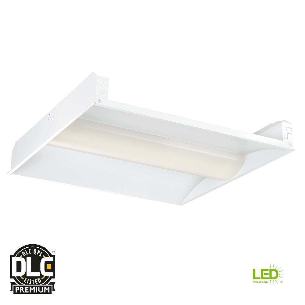 2 ft. x 2 ft. 128-Watt White Volumetric Integrated LED Commercial Grid Ceiling Troffer