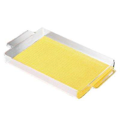 Fishnet Rectangular Serving Tray in Yellow