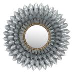 """Large, Round 3D Silver Metal Floral Accent Mirror, 32"""""""