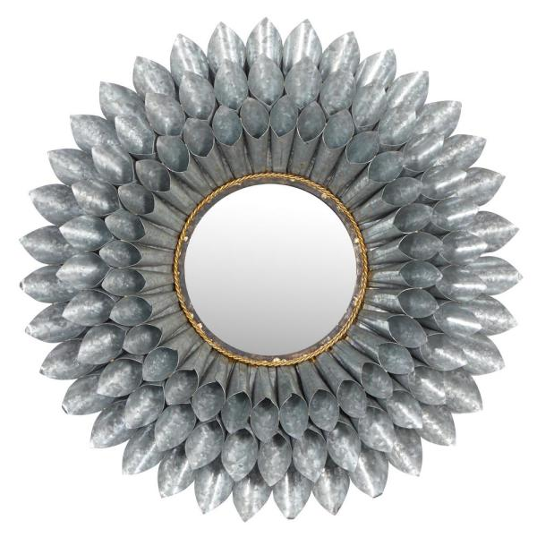 Large, Round 3D Silver Metal Floral Accent Mirror, 32''