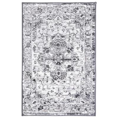 Traditional Distressed Medallion Gray 2 ft. x 3 ft. Area Rug
