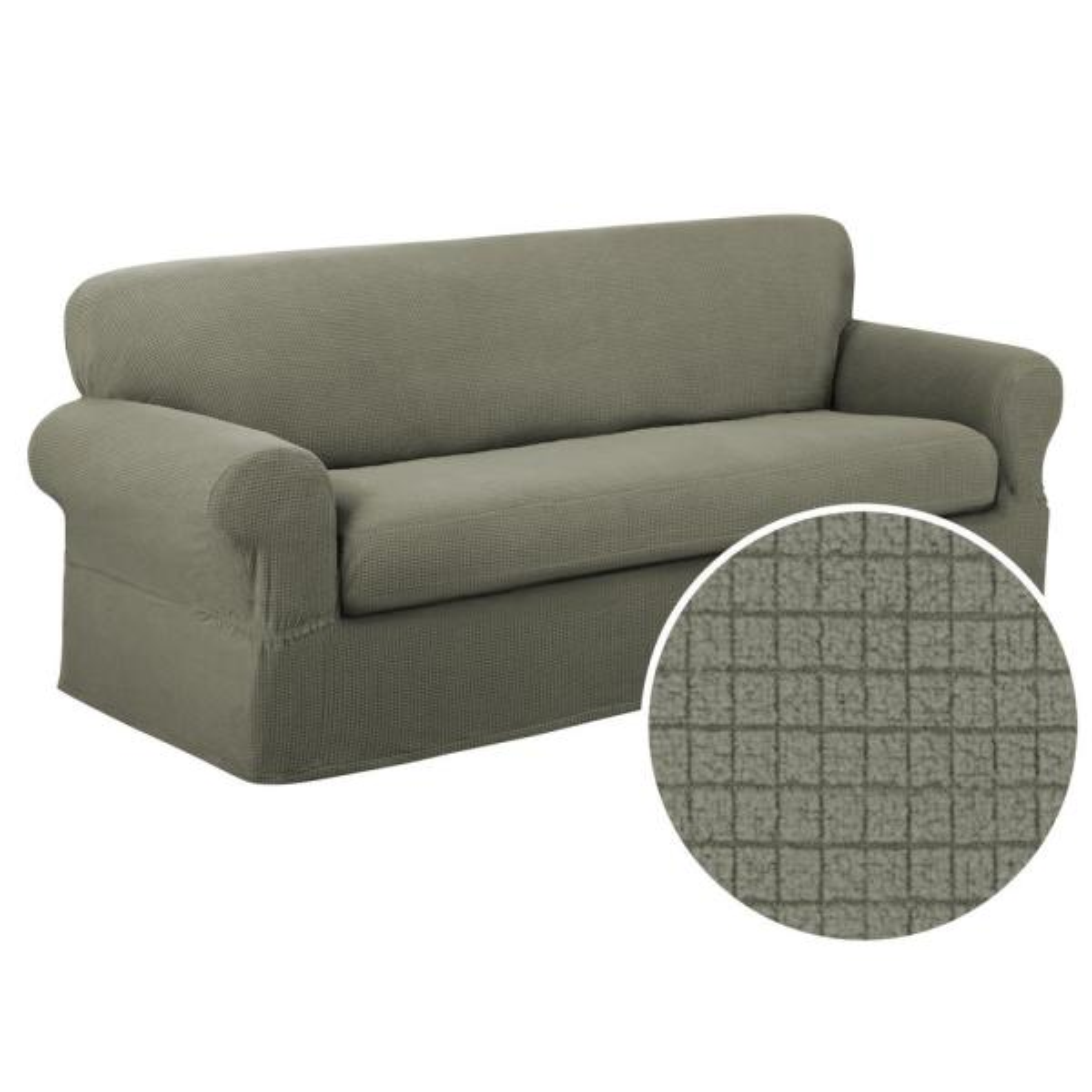 Reeves Stretch 2-Piece Dark Sage Sofa Slipcover