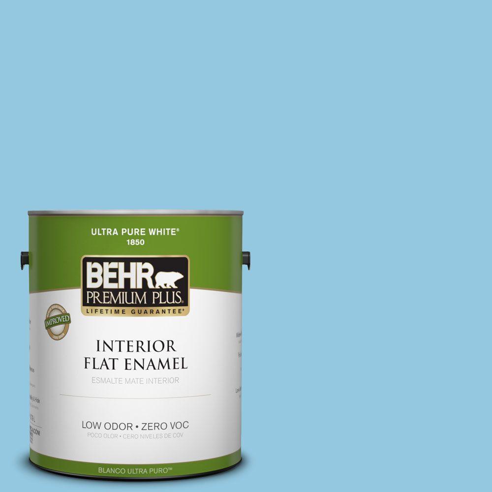 BEHR Premium Plus 1-gal. #550D-4 Caribbean Coast Zero VOC Flat Enamel Interior Paint-DISCONTINUED