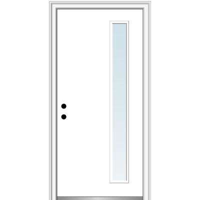 32 in. x 80 in. Viola Right-Hand Inswing 1-Lite Clear Low-E Modern Painted Steel Prehung Front Door on 4-9/16 in. Frame