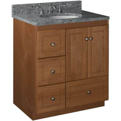 Ultraline 30 in. W x 21 in. D x 34.5 in. H Vanity with Left Drawers Cabinet Only in Medium Alder