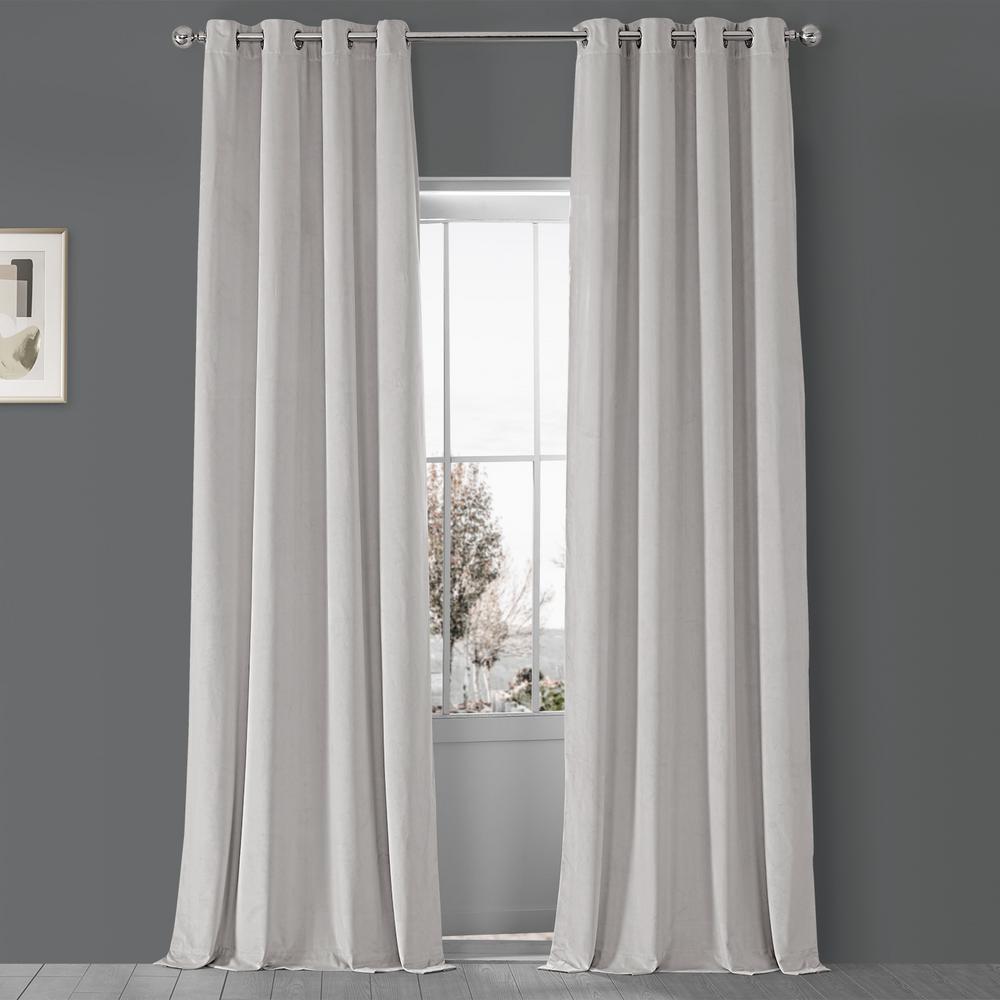 Blackout Signature Porcelain White Grommet Blackout Velvet Curtain - 50 in. W x 120 in. L (1 Panel)