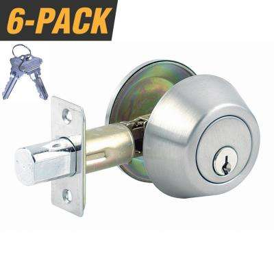 Stainless Steel Grade 3 Door Lock Single Cylinder Deadbolt with 12 SC1 Keys (6-Pack, Keyed Alike)
