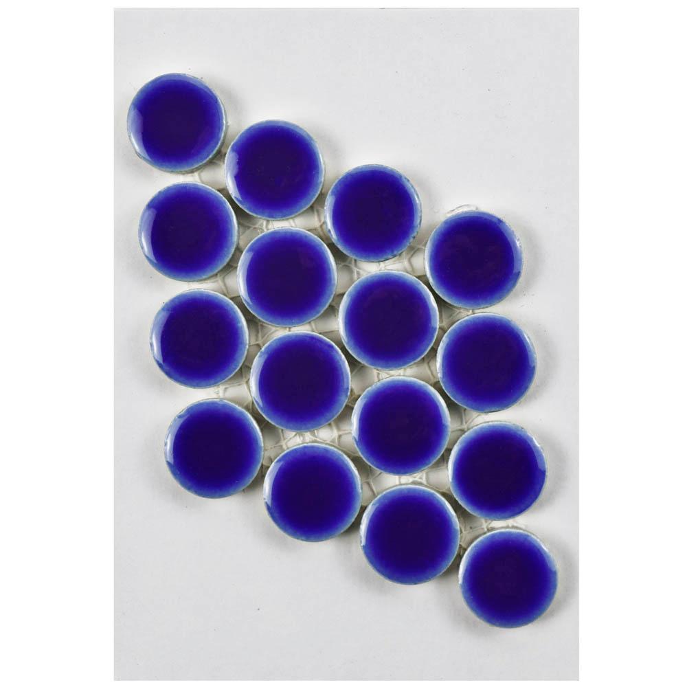 Hudson Penny Round Cobalt Porcelain Mosaic Tile - 3 in. x 4 in. Tile Sample