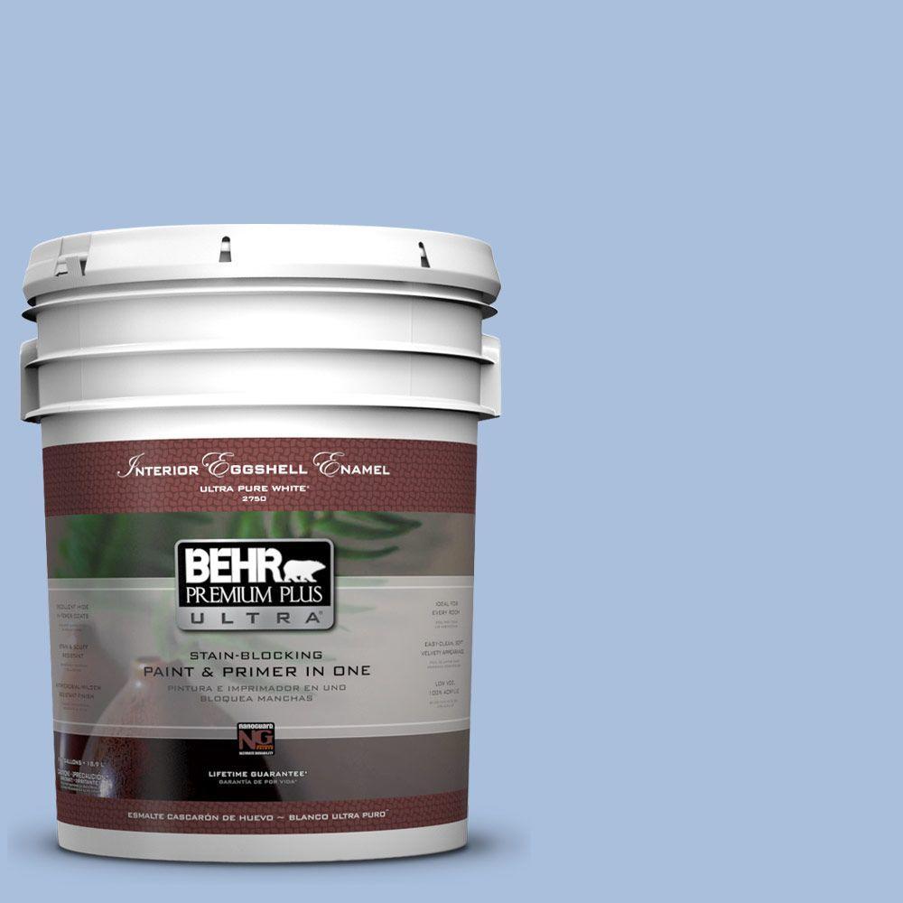 BEHR Premium Plus Ultra 5-gal. #580D-4 Skysail Blue Eggshell Enamel Interior Paint