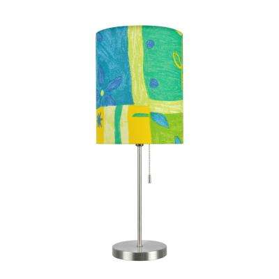 19-1/2 in. Satin Nickel Candlestick Table Lamp with Hardback Drum Lamp Shade in Blue/Yellow/Green Print