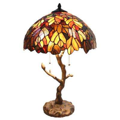 24.5 in. Multi-Colored Indoor Table Lamp with Stained Glass Tree Trunk Base