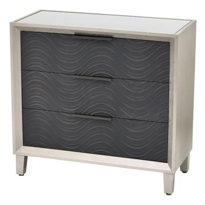 31.75 in. 3-Drawers Silver Wood Cabinet