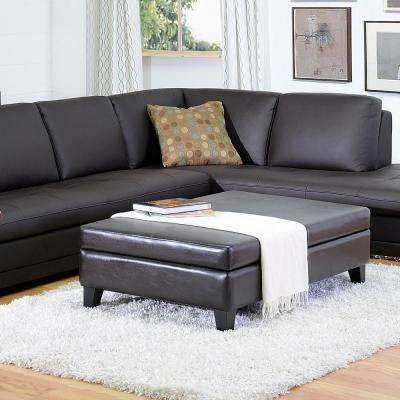Jack Traditional Brown Faux Leather Upholstered Storage Ottoman