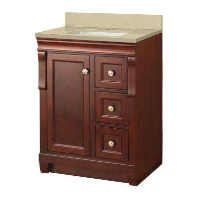 Naples 25 in. W x 22 in. D Vanity in Tobacco with Engineered Marble Vanity Top in Crema Limestone with White Sink