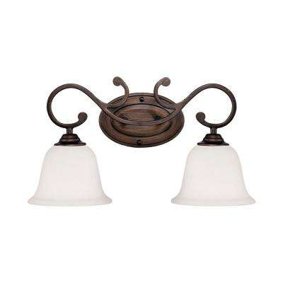 2-Light Rubbed Bronze Vanity Light with Turinian Scavo Glass