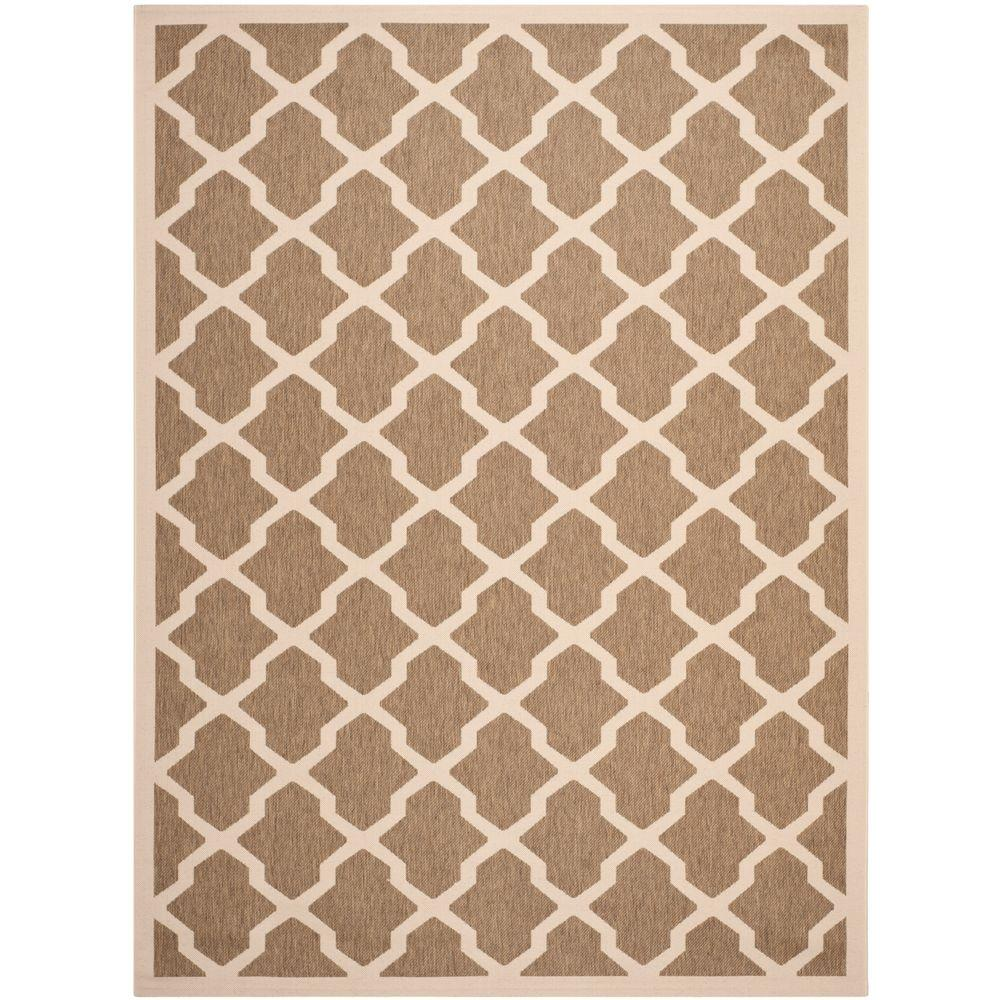 Courtyard Brown/Bone 9 ft. x 12 ft. Indoor/Outdoor Area Rug