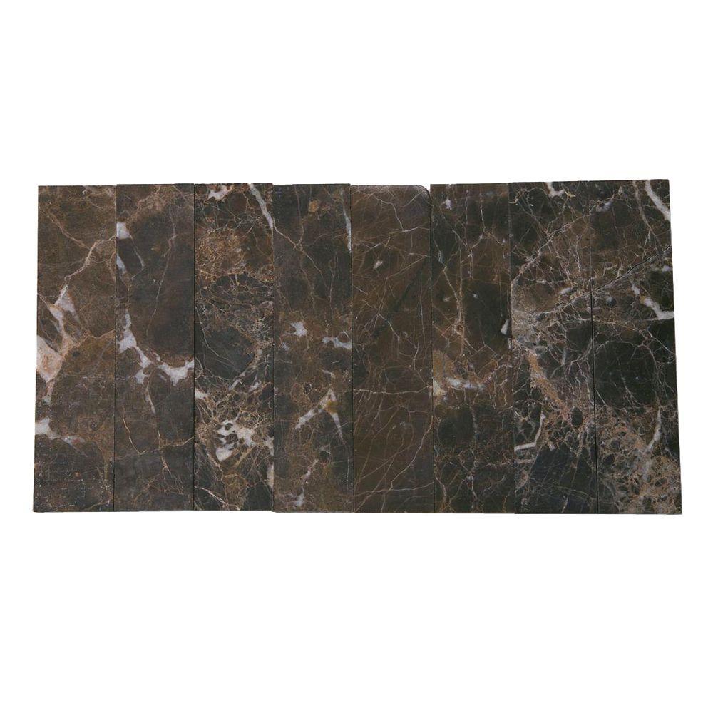 Splashback Tile Brushed Dark Emperador Marble Mosaic Tile - 2 in. x ...