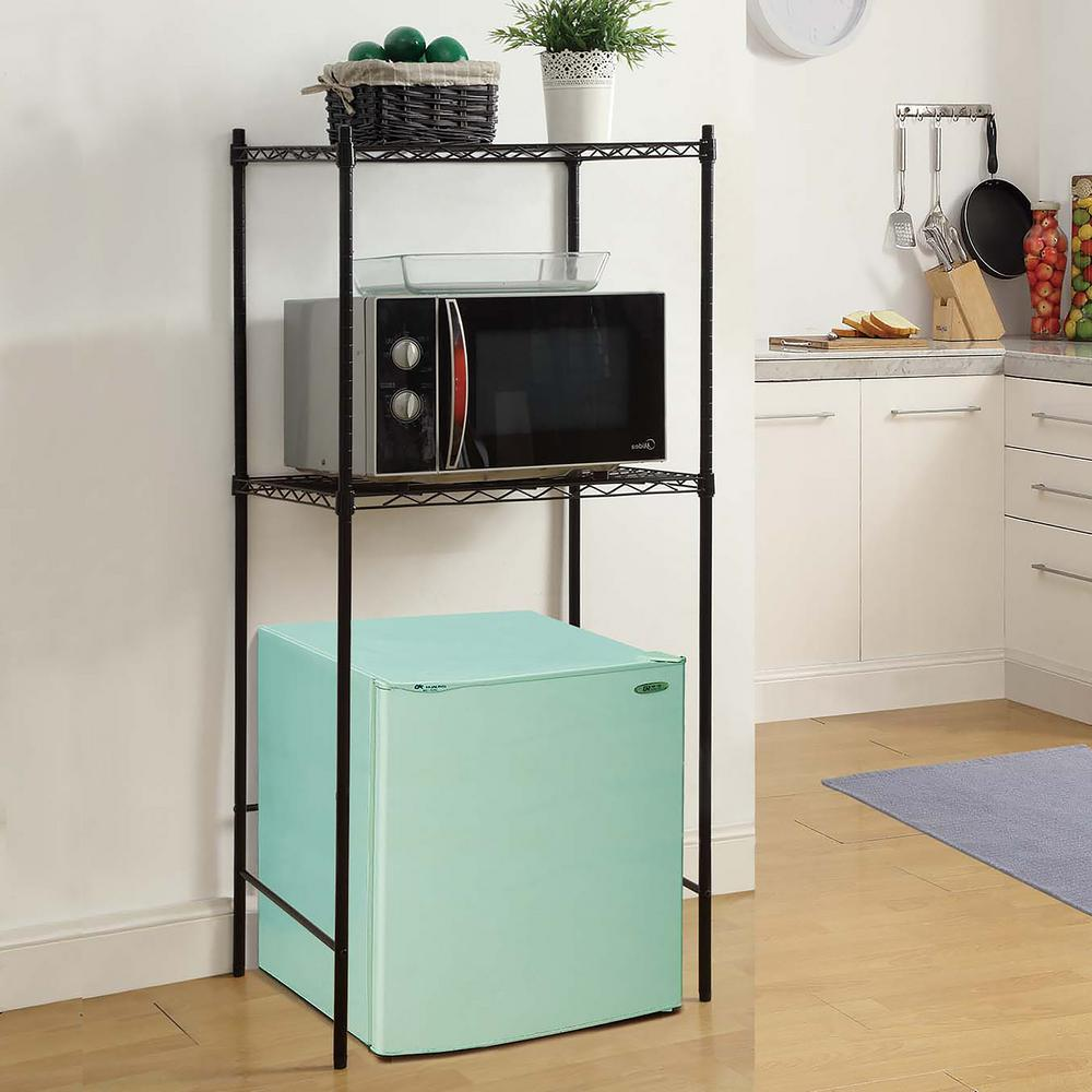 neu home 24 in w x 18 in d black microwave and mini fridge stand rh homedepot com
