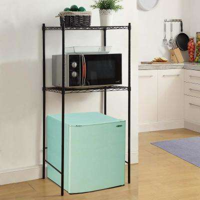 24 in. W x 18 in. D Black Microwave and Mini-Fridge Stand Decorative Shelf