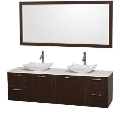 Amare 72 in. Double Vanity in Espresso with Solid-Surface Vanity Top in White, Marble Sinks and 70 in. Mirror