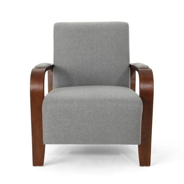 Noble House Loukas Traditional Gray Fabric Club Chair 304490