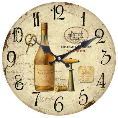 14 in. Circular Wooden Wall Clock with Bottle of Wine Print