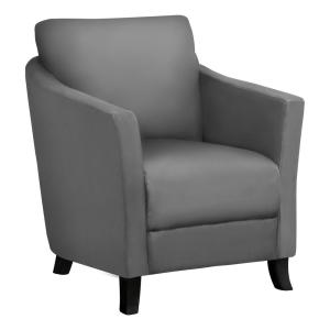 Grey Leather Look Accent Chair