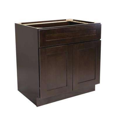 Ready to Assemble 42x24x34-1/2 in. Brookings Shaker Style 2-Door Sink Base Cabinet in Espresso