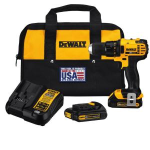 20-Volt MAX Lithium-Ion Cordless Compact Drill/Driver with (2) Batteries 1.5Ah, Charger and Tool Bag
