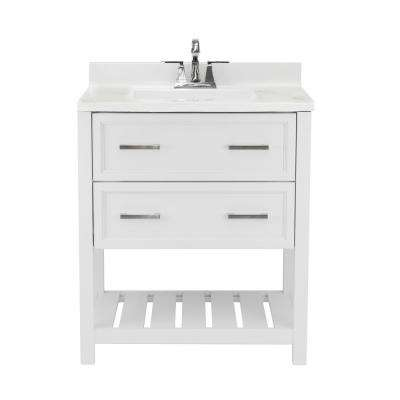 Milan 31 in. Bath Vanity in White with Cultured Marble Vanity Top w/ Backsplash in Carrara White with White Basin