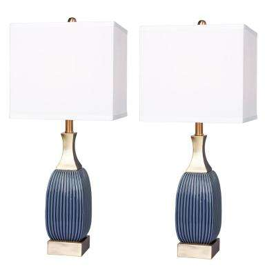 26.5 in. Vertically Ribbed Blue Ceramic and Antique Brass Table Lamp (2-Pack)