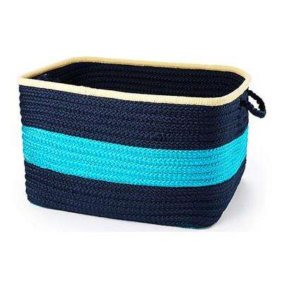Color Pop Square Polypropylene Basket Turquoise Navy 18 in. x 18 in. x 12 in.