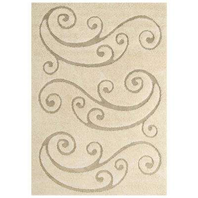 Sprout Scrolling Vine 8 ft. x 10 ft. Shag Area Rug in Cream and Beige